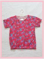 blouse2006 เสื้อแฟชั่นน่ารัก แขนสั้น จัมพ์เอว ผ้าชีฟองเนื้อหนาลายโบว์สีแดง