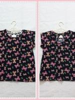 blouse1996 เสื้อแฟชั่นน่ารัก แขนในตัว ผูกหลัง ผ้าชีฟองเนื้อหนาลายโบว์สีดำ