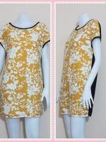 dress2606 เดรสแฟชั่นไซส์ใหญ่แขนในตัวด้านหลังสีดำ ผ้ายืดลายไทยโทนสีขาวเหลือง