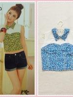 blouse2085 เสื้อแฟชั่นตัวสั้น คอบัวแหลมอกขาว แขนกุด ซิปหลัง ผ้าชีฟองนิ่มลายดอกไม้เล็กสีฟ้า