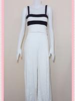 set_bp546 ชุดเซ็ทผ้ายืดเนื้อดี เสื้อสั้นสายสปาเก็ตตี้ลายขวางขาวดำ+กางเกงขายาวเอวยืดผ่าหน้าสีขาว