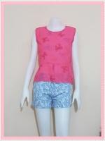 blouse2108 เสื้อแฟชั่นน่ารักแขนกุดชายระบาย ผ้าชีฟองเนื้อทรายลายโบว์สีชมพู