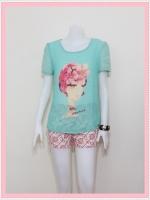 blouse1790 เสื้อแฟชั่นไซส์ใหญ่ผ้าชีฟองเนื้อดี แต่งลายผู้หญิงปักมุก แขนสั้น สีเขียวพาสเทล ราคาปลีก : 170 บาท