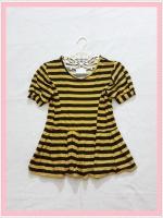 blouse2012 เสื้อแฟชั่นน่ารักแขนตุ๊กตาชายระบาย ผ้าเด้งลายขวางสีเหลืองมัสตาร์ดดำ