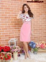 New ชุดเดรสผ้าHanako แต่งกั้กผ้าแคลวาสลายดอกไม้ผีเสื้อ