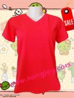 เสื้อเปล่าสีแดง คอวี Size S