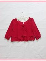 blouse2041 เสื้อแฟชั่นไซส์ใหญ่ แขนสามส่วน โบว์อก ผ้าเด้งเนื้อดีสีแดง