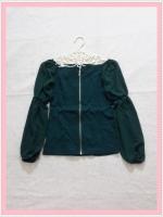 blouse1915  เสื้อแฟชั่นเข้ารูปผ้าสกินนี่(ยืดได้) ซิปหน้า แขนยาวชีฟองเปิดไหล่ สีเขียว