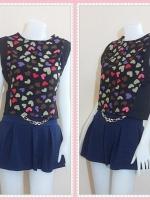 blouse2581 เสื้อแฟชั่นราคาส่ง เสื้อแขนในตัวผ้าเนื้อดีลายหัวใจคัลเลอร์ฟูลพื้นสีดำ