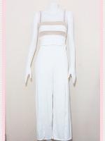 set_bp542 ชุดเซ็ทผ้ายืดเนื้อดี เสื้อสั้นสายสปาเก็ตตี้ลายขวางขาวครีมเปลือกไข่+กางเกงขายาวเอวยืดผ่าหน้าสีขาว