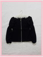 blouse1906 เสื้อแฟชั่นเข้ารูปผ้าสกินนี่(ยืดได้) ซิปหน้า แขนยาวชีฟองเปิดไหล่ สีดำ