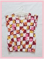 blouse2145 เสื้อแฟชั่นน่ารัก แขนในตัว เอวจัมพ์ ผ้าชีฟองเนื้อหนาลายสี่เหลี่ยมดอกไม้โทนสีเลือดหมูขาว