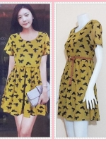 dress2808 ชุดเดรสแฟชั่นไซส์ใหญ่แขนสั้น ผ้ายืดซีทรูลายผีเสื้อมีซับในสีเหลืองมัสตาร์ด (ไม่รวมเข็มขัด)
