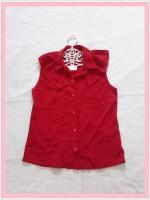 blouse2021 เสื้อแฟชั่นคอปกระบายบ่า กระดุมหน้า แขนกุด ผ้าไหมอิตาลีสีแดง
