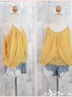 blouse1446 เสื้อแฟชั่นสไตล์ดารา ผ้าชีฟองเนื้อนิ่ม สายเดี่ยว แต่งดีเทลด้านข้าง สีเหลือง ราคาปลีก : 150 บาท