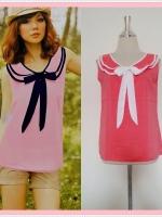 blouse1738 เสื้อแฟชั่นงานแพลตตินั่มผ้าชีฟองเนื้อดี คอบัวสองชั้นผูกโบว์ แขนกุด สีส้มโอลด์โรสกุ๊นขาว ราคาปลีก : 150 บาท