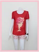 blouse1788 เสื้อแฟชั่นไซส์ใหญ่ผ้าชีฟองเนื้อดี แต่งลายผู้หญิงปักมุก แขนสั้น สีแดง ราคาปลีก : 170 บาท