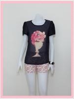 blouse1787 เสื้อแฟชั่นไซส์ใหญ่ผ้าชีฟองเนื้อดี แต่งลายผู้หญิงปักมุก แขนสั้น สีดำ ราคาปลีก : 170 บาท