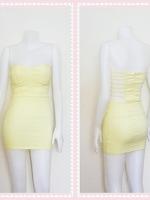 dress2315 เดรสแฟชั่นเกาะอกเสริมฟองน้ำบาง หลังริ้วเป็นเส้นๆ ซิปหลัง ผ้าสกินนี่(ยืดได้เยอะ) สีเหลืองพาสเทล Size M
