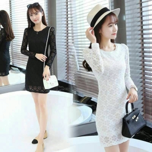 Dress3710-3711 งานนำเข้าสไตล์เกาหลี ชุดเดรสลูกไม้แขนยาวทรงเข้ารูป ผ้าลูกไม้ลายดอกเนื้อดีเกรดพรีเมียม มีซับในอย่างดีทั้งชุด มี 2 สี ขาว ดำ