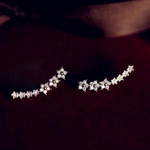 ตุ้มหู,ต่างหูชุบทองคำขาว18Kรูปแนวดาวแต่งคริสตัล