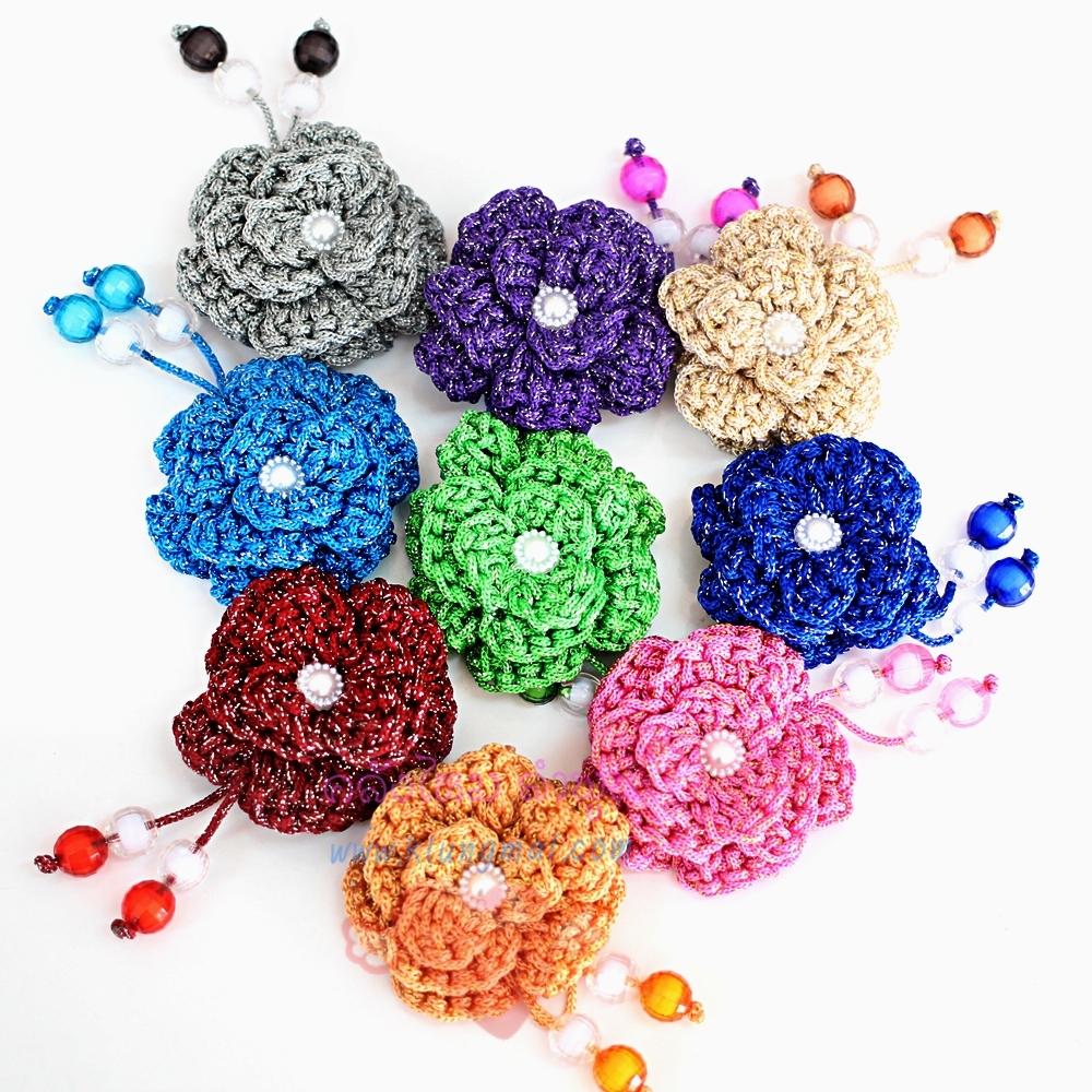 ดอกไม้เชือกร่ม ถักโครเชต์