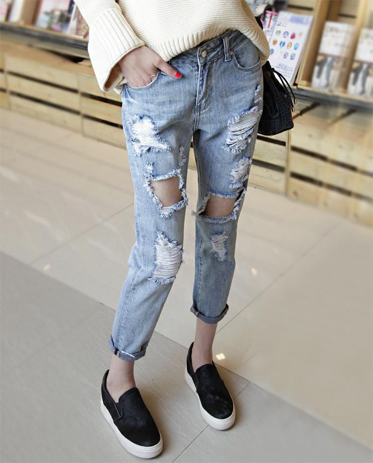 กางเกงยีนส์ แต่งขาดๆ แนวๆ ทรงสวย พร้อมส่ง
