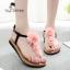 รองเท้าแฟชั่น รองเท้าแตะ รองเท้ามัฟฟิน Muffin sandals Korean high-heeled flip thumbnail 1