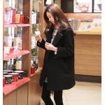 XXL : เสื้อโค้ทกันหนาว สีดำ ทรงสวย ใส่ได้หลายแบบ ผ้าดีบุซับในกันลม สำเนา