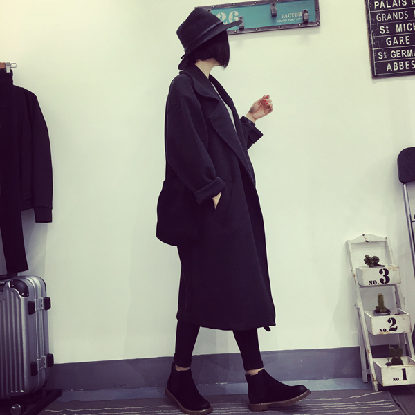 เสื้อโค้ทกันหนาว สไตล์เกาหลี ตัวโคล่ง สีดำ ผ้าสำลีเนื้อไม่หนามาก บุซับในกันลม ใครชอบแนวๆ แนะนำตัวนี้เลยจ้า