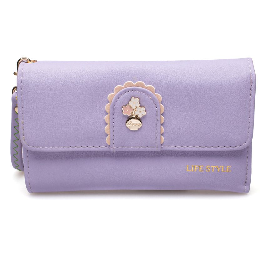 กระเป๋าสตางค์ Samilon สีม่วง ขนาดกลาง คล้องข้อมือได้