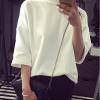 เสื้อแฟชั่น สีขาว ทรงไหล่ตก สไตล์เกาหลี ผ้าดีเนื่้อละเอียดมาก เก๋ๆ พร้อมส่งน้า