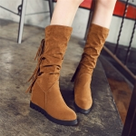 Boots รองเท้าบูท หนังสักกะหลาด สีน้ำตาลอ่อนเสริมส้นและบุผ้าสพลีด้านใน ใส่แล้วเซอร์ วินเทจมากค่าาา