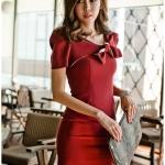 ชุดเดรส ผ้าโพลีเอสเตอร์ (สีแดง)
