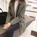 XXL : เสื้อโค้ทกันหนาวไซส์ใหญ่ สไตล์เกาหลี ทรงสวย Classic ผ้าสำลีบุซับในกันลม สีเทา พร้อมส่ง