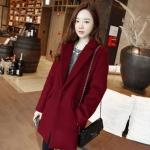 XXL : เสื้อโค้ทกันหนาวไซส์ใหญ่ สไตล์เกาหลี ทรงสวย Classic ผ้าสำลีบุซับในกันลม สีไวน์แดง พร้อมส่ง