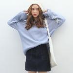 เสื้อไหมพรมตัวโคล่ง สีฟ้า ไหมพรมเนื้อนิ่ม ไม่หนามาก ยืดได้เยอะ ใครชอบแนวสาวเกาหลี พลาดไม่ได้จ้า