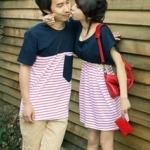 ชุดคู่รัก เกาหลี สีกรม+ขาวแดง ชุดผู้หญิงทรงน่ารัก ราคา/คู่