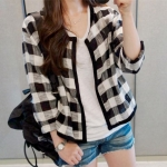 เสื้อคลุมลายสก๊อต แฟชั่นเกาหลี พร้อมส่ง น่ารัก