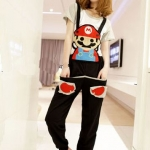 ชุดเอี๊ยม สีดำ jumpsuit Super Mario เอวยืด พร้อมสายเอี๊ยมแบบถอดได้ น่ารักมากๆ