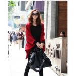 สีแดง เสื้อคลุมถักไหมสีแดงแซมเทา ทรงปีกค้างตาวตัวยาว สัมผัสลื่น พร้อมส่ง