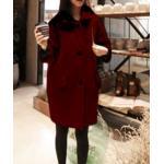 M : เสื้อโค้ทกันหนาว ทรงเก๋ ไม่เหมือนใคร สีไวน์แดง ผ้าวูลมีซับใน