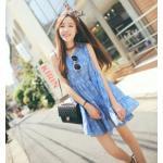 สีฟ้า : เสื้อตัวยาว/ mini dress สุดน่ารัก ผ้าฝ้ายปักลายหวานๆ พร้อมส่ง