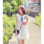 สีขาว : เสื้อตัวยาว/ mini dress สุดน่ารัก ผ้าฝ้ายปักลายหวานๆ พร้อมส่ง