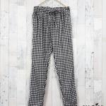 trousers365 กางเกงขายาวผ้าไหมอิตาลีเอวยืด 26-38 นิ้ว ลายสก็อตสีขาวดำ