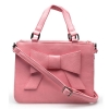 กระเป๋าสะพาย นำเข้า สีชมพู ตกแต่งโบว์ด้านหน้า