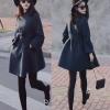 M: เสื้อโค้ทกันหนาว ทรงสวยสีกรมท่า ใส่เป็นเดรสได้เลย แบบผู้ดีมาก