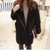 L : เสื้อกันหนาว สีดำ เนื้อผ้าคล้ายๆหนังกลับ+กำมะหยี่