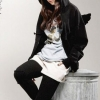 สีดำ เสื้อกันหนาว มีปีก เกาหลีสุดๆ น่ารัก