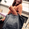 BL2-039 กระเป๋าสะพายนำเข้า Vivian หนัง PU สีดำ ขนาดใหญ่